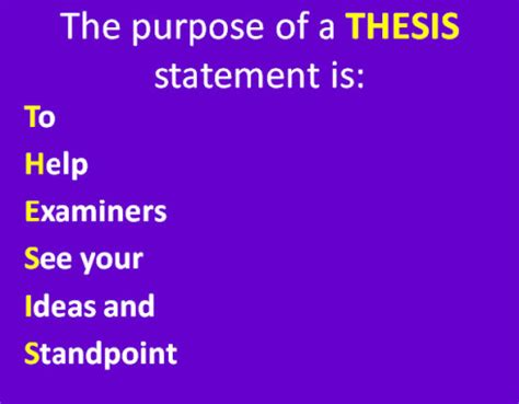 A thesis statement should be placed in the house